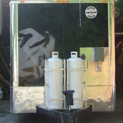 Black Concession Trailer with two 100 lb. propane tanks