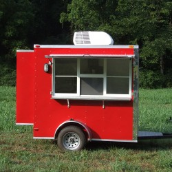 (#0025) Red Concession Trailer with Bump Outs