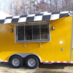 (#0002) Yellow Trailer with B&W Awning