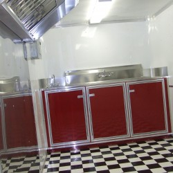 (#2014) Red Cabinets, B&W Flooring