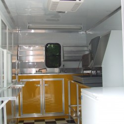 (#1002) Interior Shaved Ice Trailer, Yellow Cabinets
