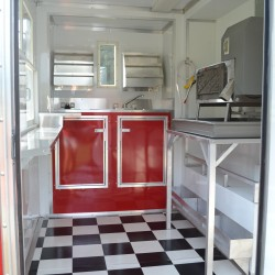(#1001) Interior Shaved Ice Trailer, Red Cabinets