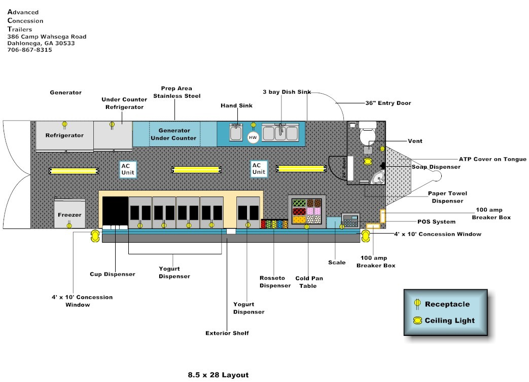 8 5 X 28 Equipment Layout Advanced Concession Trailers